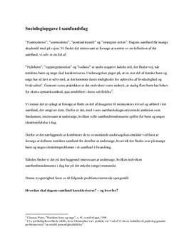 Sociologi og modernitet semesteropgave