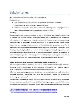 Sekularisering og Kristendomskundskab i KLM