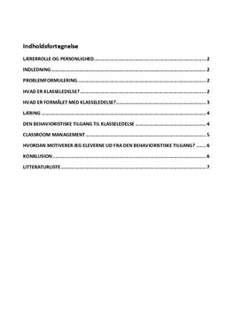 Behavioristisk klasseledelse | Synopsis