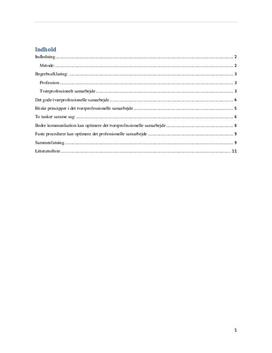 Tværprofessionelle samarbejde (lærer, læger og pædagoger)