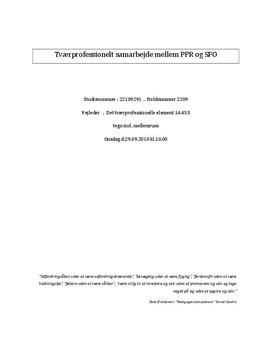 Tværprofessionelt samarbejde mellem PPR og SFO