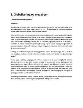 Globalisering og megabyer undervisningsforløb
