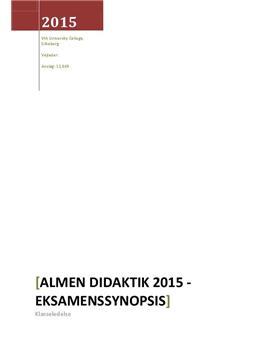 Synopsis til eksamen om klasseledelse