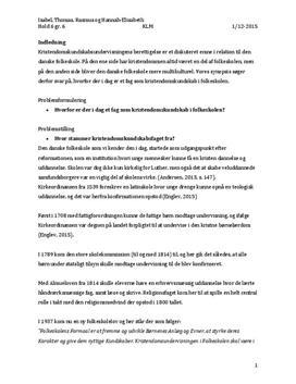 Synopsis om kristendomskundskabsfaget i folkeskolen | KLM