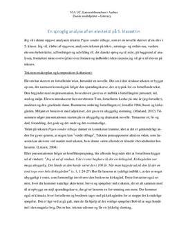 Sproglig analyse af elevtekst fra elev i 5. klasse