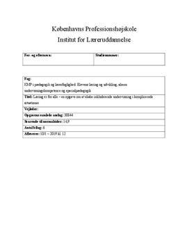 PL4 om det inkluderende læringsmiljø