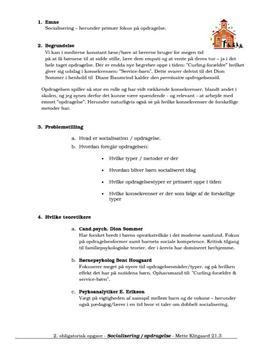 Semesteropgave om socialisering og opdragelse