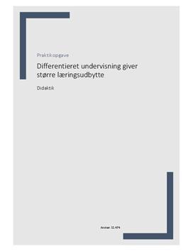 Praktikopgave om differentieret undervisning