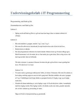 Undervisningsforløb i IT programmering