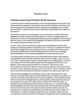 Modulprøve i engelsk om the EFL Classroom
