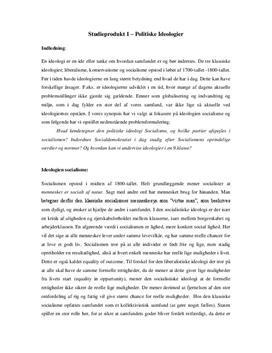 Studieprodukt om Politiske Ideologier