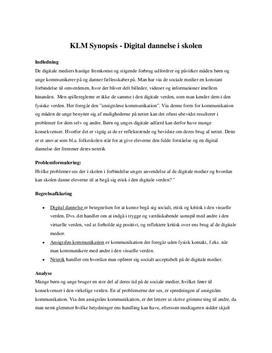 Digital dannelse | Synopsis til KLM