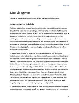 Modulprøve i KLM om sekularisering