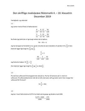 Den skriftlige modulprøve Matematik 4. - 10. klassetrin | December 2019