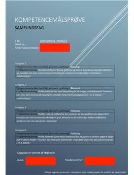 Synopsis til kompetencemålsprøve i samfundsfag