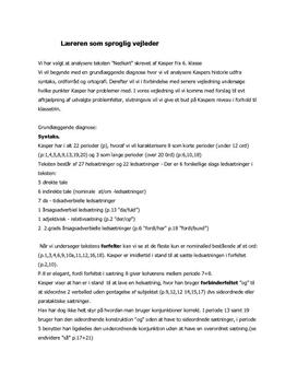 Dansk sætningsanalyse af 6. klasses tekst