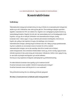 Konstruktivisme i matematik | Eksamensopgave