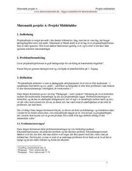 Projektarbejde og læringsmiljø i matematik
