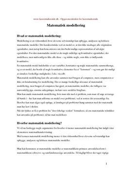 Matematisk modellering | Synopsis