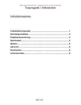 Opgave om tosprogede i folkeskolen