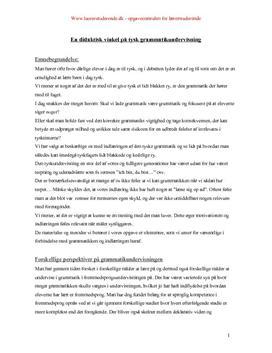 En didaktisk vinkel på tysk grammatikundervisning
