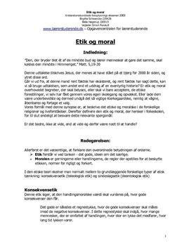 Synopsis om etik og moral i folkeskolen