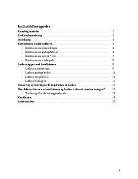Eksamensopgave om katolicisme og Luther