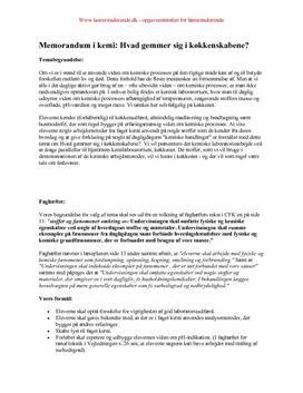 Eksamensopgave om madkemi | Memorandum i kemi