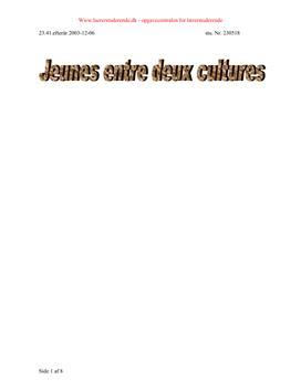 Jeunes entre deux cultures | Maj 2003