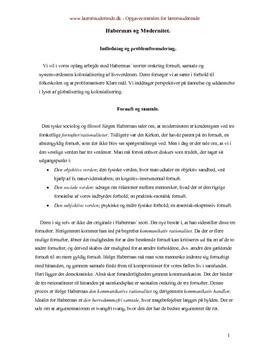 Habermas og modernitet | Synopsis