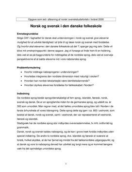 Norsk og svensk i den danske folkeskole