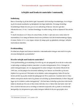 Eksamensopgave om konkrete materialer i matematik