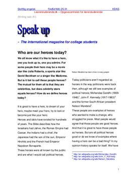 Engelsk skriftlig eksamen 2006 | Læreruddannelsen | Heroes