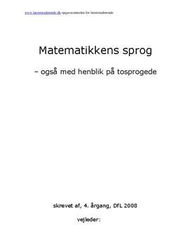 Opgave: Matematik -et sprog?