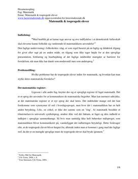 Eksamensopgave om matematik og tosprogede elever
