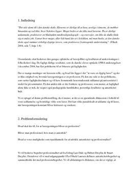 Lærerprofessionalitet eksamensopgave