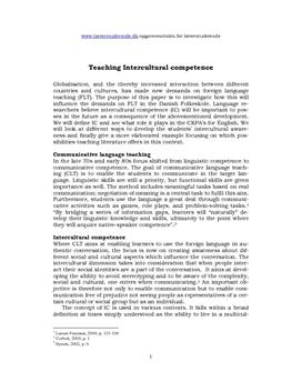 Teaching Intercultural competence | Synopsis