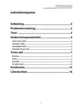 Praktikrapport om leg og spil i matematik