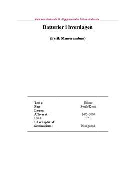 Undervisningsforløb om batterier i hverdagen