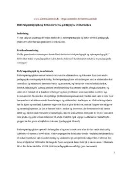 Reformpædagogik og behavioristisk pædagogik i folkeskolen