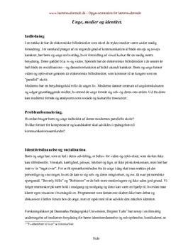 Unge, medier og identitet   Synopsis