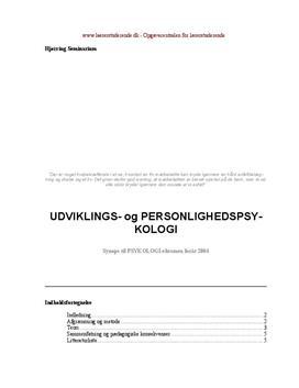 Synopsis om udviklingspsykologi samt case