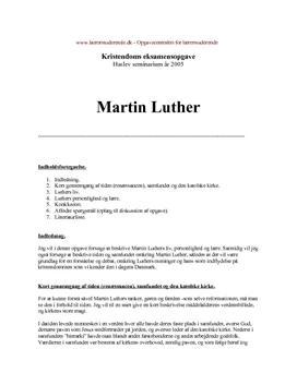 Eksamensopgave om Martin Luthers liv