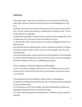 Risikobørn   Pædagogers indflydelse   Eksamensopgave