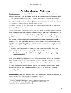 Psykologi - motivation | Synopsis