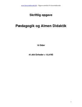 Opgave i pædagogik og almen didaktik i sløjd