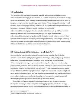 Undervisningsdifferentiering i indskolen projekt