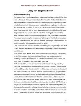 Crazy von Benjamin Lebert | Semesteropgave