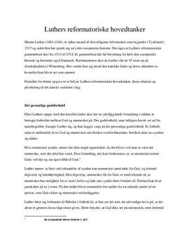 Luthers reformatoriske hovedtanker