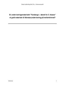 Undervisningsmaterialet Fandango analyse